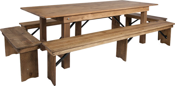 Wholesale HERCULES Series 8' x 40'' Antique Rustic Folding Farm Table and Four Bench Set