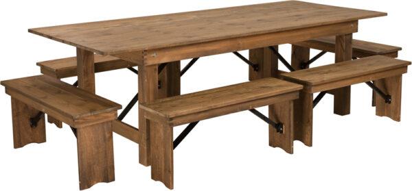 Wholesale HERCULES Series 8' x 40'' Antique Rustic Folding Farm Table and Six Bench Set