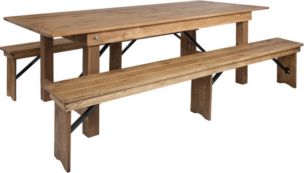 Wholesale HERCULES Series 8' x 40'' Antique Rustic Folding Farm Table and Two Bench Set