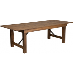 "Wholesale HERCULES Series 8' x 40"" Rectangular Antique Rustic Solid Pine Folding Farm Table"