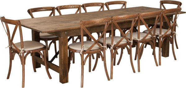 Wholesale HERCULES Series 9' x 40'' Antique Rustic Folding Farm Table Set with 10 Cross Back Chairs and Cushions