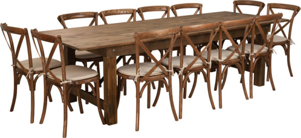 Wholesale HERCULES Series 9' x 40'' Antique Rustic Folding Farm Table Set with 12 Cross Back Chairs and Cushions