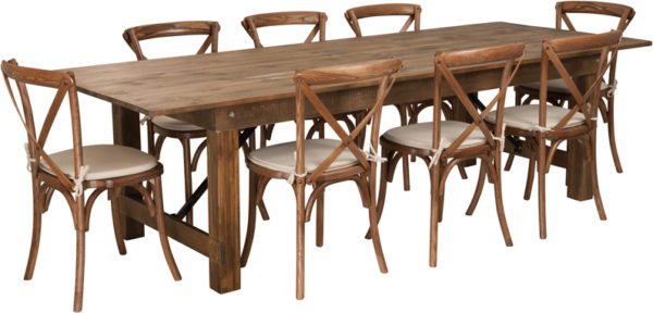 Wholesale HERCULES Series 9' x 40'' Antique Rustic Folding Farm Table Set with 8 Cross Back Chairs and Cushions