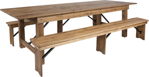 Wholesale HERCULES Series 9' x 40'' Antique Rustic Folding Farm Table and Two Bench Set