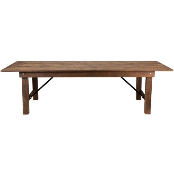 "Lowest Price HERCULES Series 9' x 40"" Rectangular Antique Rustic Solid Pine Folding Farm Table"