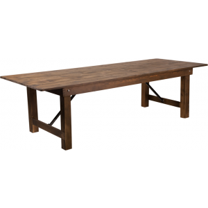 "Wholesale HERCULES Series 9' x 40"" Rectangular Antique Rustic Solid Pine Folding Farm Table"