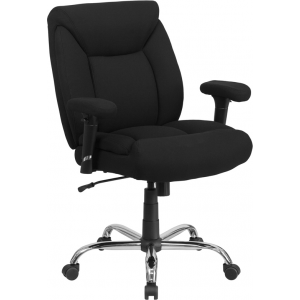 Wholesale HERCULES Series Big & Tall 400 lb. Rated Black Fabric Deep Tufted Swivel Ergonomic Task Office Chair with Adjustable Arms