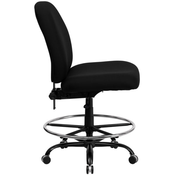 Lowest Price HERCULES Series Big & Tall 400 lb. Rated Black Fabric Ergonomic Drafting Chair with Adjustable Back Height