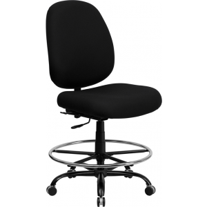 Wholesale HERCULES Series Big & Tall 400 lb. Rated Black Fabric Ergonomic Drafting Chair with Adjustable Back Height