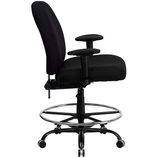 Lowest Price HERCULES Series Big & Tall 400 lb. Rated Black Fabric Ergonomic Drafting Chair with Adjustable Back Height and Arms