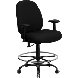 Wholesale HERCULES Series Big & Tall 400 lb. Rated Black Fabric Ergonomic Drafting Chair with Adjustable Back Height and Arms