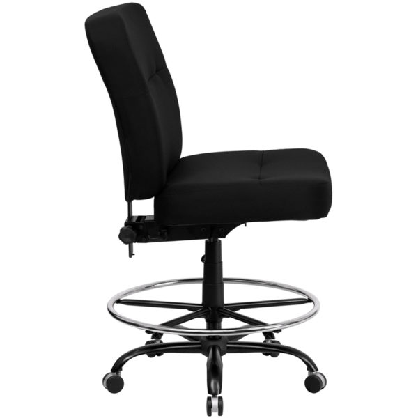 Lowest Price HERCULES Series Big & Tall 400 lb. Rated Black Fabric Ergonomic Drafting Chair with Rectangular Back