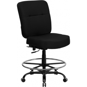 Wholesale HERCULES Series Big & Tall 400 lb. Rated Black Fabric Ergonomic Drafting Chair with Rectangular Back