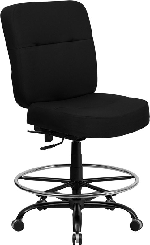 Wholesale HERCULES Series Big & Tall 400 lb. Rated Black Fabric Ergonomic Drafting Chair with Rectangular Back
