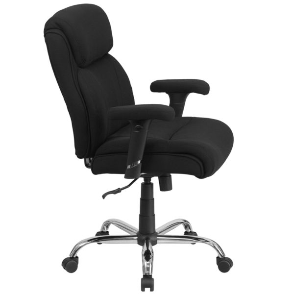 Lowest Price HERCULES Series Big & Tall 400 lb. Rated Black Fabric Ergonomic Task Office Chair with Line Stitching and Adjustable Arms
