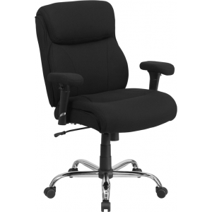 Wholesale HERCULES Series Big & Tall 400 lb. Rated Black Fabric Ergonomic Task Office Chair with Line Stitching and Adjustable Arms