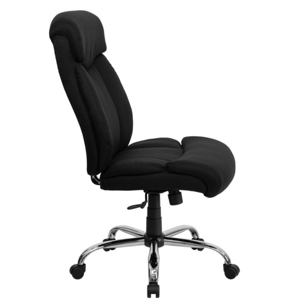 Lowest Price HERCULES Series Big & Tall 400 lb. Rated Black Fabric Executive Ergonomic Office Chair and Chrome Base
