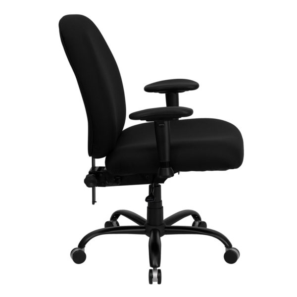 Lowest Price HERCULES Series Big & Tall 400 lb. Rated Black Fabric Executive Ergonomic Office Chair with Adjustable Back and Arms