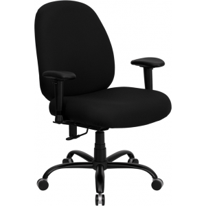 Wholesale HERCULES Series Big & Tall 400 lb. Rated Black Fabric Executive Ergonomic Office Chair with Adjustable Back and Arms
