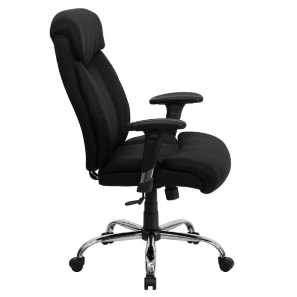 Lowest Price HERCULES Series Big & Tall 400 lb. Rated Black Fabric Executive Ergonomic Office Chair with Full Headrest and Arms
