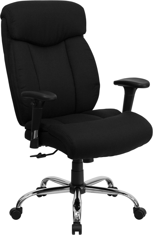 Wholesale HERCULES Series Big & Tall 400 lb. Rated Black Fabric Executive Ergonomic Office Chair with Full Headrest and Arms