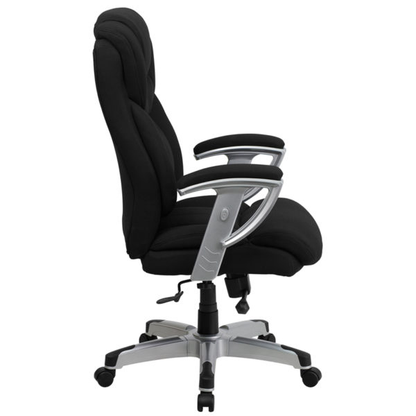 Lowest Price HERCULES Series Big & Tall 400 lb. Rated Black Fabric Executive Ergonomic Office Chair with Silver Adjustable Arms
