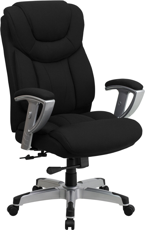 Wholesale HERCULES Series Big & Tall 400 lb. Rated Black Fabric Executive Ergonomic Office Chair with Silver Adjustable Arms