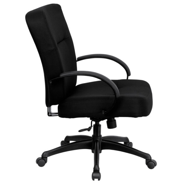Lowest Price HERCULES Series Big & Tall 400 lb. Rated Black Fabric Executive Swivel Ergonomic Office Chair with Arms