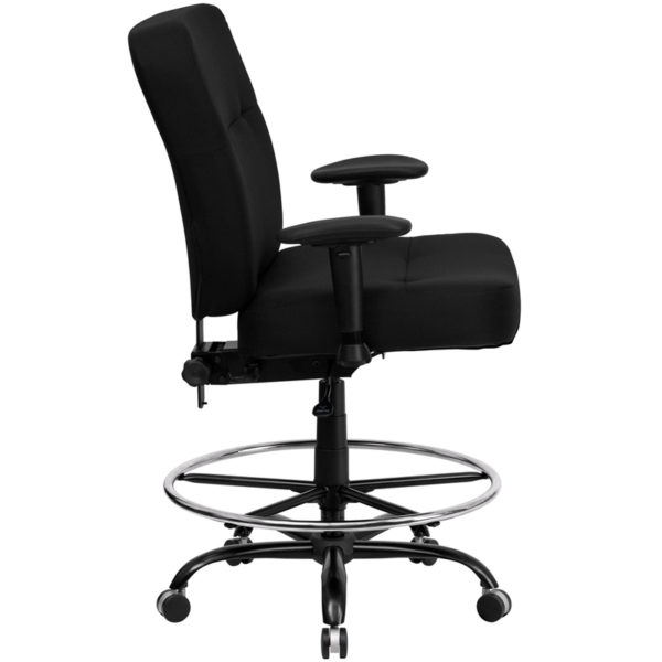 Lowest Price HERCULES Series Big & Tall 400 lb. Rated Black Fabric Rectangular Back Ergonomic Draft Chair with Adjustable Arms