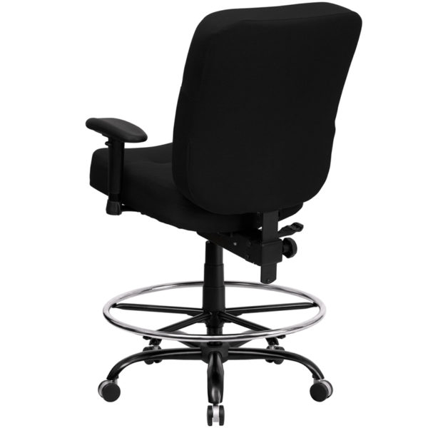 Contemporary Big & Tall Draft Stool Black Fabric 400LB Draft Chair