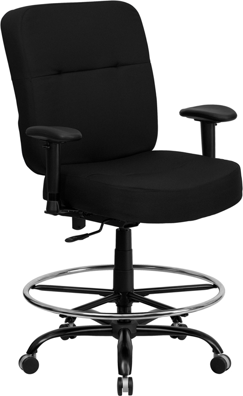 Wholesale HERCULES Series Big & Tall 400 lb. Rated Black Fabric Rectangular Back Ergonomic Draft Chair with Adjustable Arms