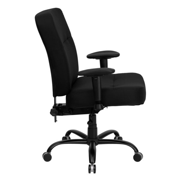 Lowest Price HERCULES Series Big & Tall 400 lb. Rated Black Fabric Rectangular Back Ergonomic Office Chair with Arms