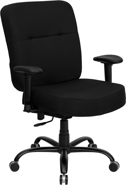 Wholesale HERCULES Series Big & Tall 400 lb. Rated Black Fabric Rectangular Back Ergonomic Office Chair with Arms