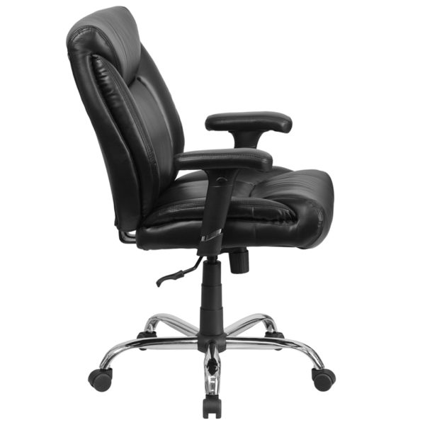 Lowest Price HERCULES Series Big & Tall 400 lb. Rated Black Leather Deep Tufted Ergonomic Task Office Chair with Adjustable Arms