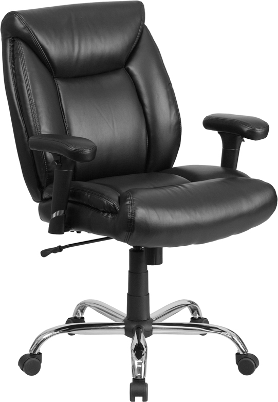 Wholesale HERCULES Series Big & Tall 400 lb. Rated Black Leather Deep Tufted Ergonomic Task Office Chair with Adjustable Arms