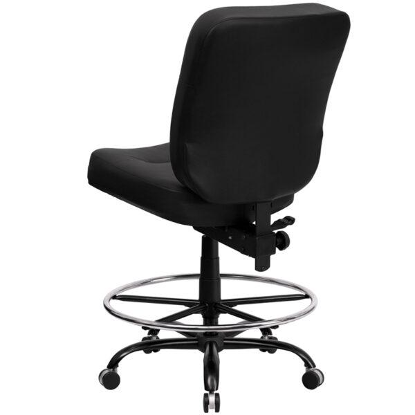 Contemporary Big & Tall Draft Stool Black 400LB Draft Chair