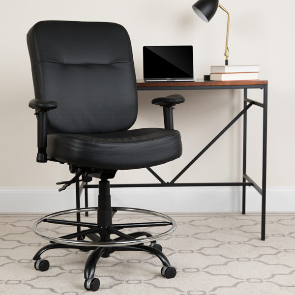 Lowest Price HERCULES Series Big & Tall 400 lb. Rated Black Leather Ergonomic Drafting Chair with Adjustable Arms