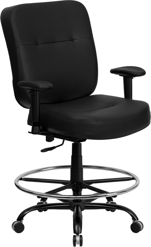 Wholesale HERCULES Series Big & Tall 400 lb. Rated Black Leather Ergonomic Drafting Chair with Adjustable Arms