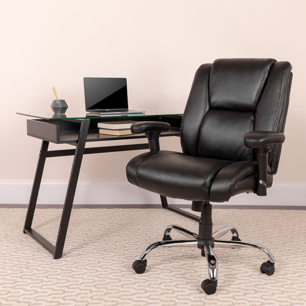 Lowest Price HERCULES Series Big & Tall 400 lb. Rated Black Leather Ergonomic Task Office Chair with Chrome Base and Adjustable Arms