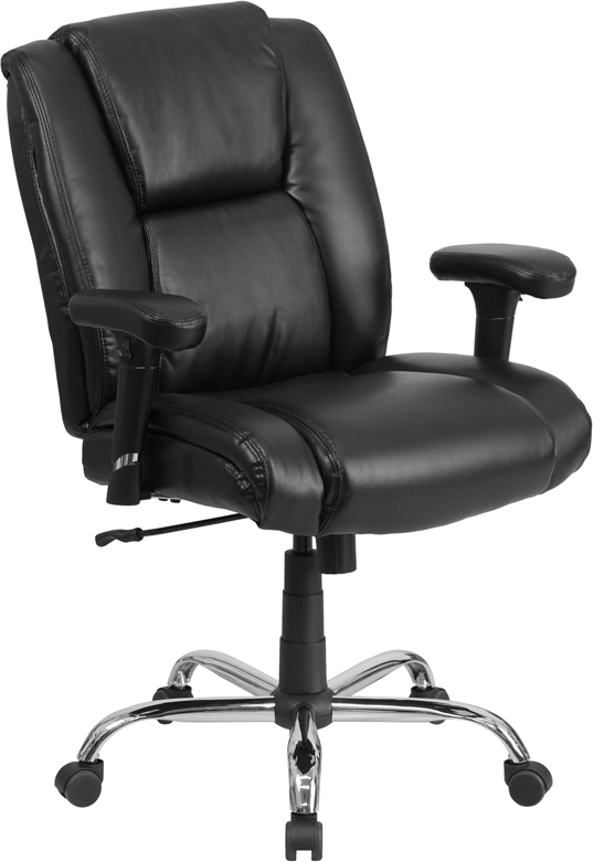 Wholesale HERCULES Series Big & Tall 400 lb. Rated Black Leather Ergonomic Task Office Chair with Chrome Base and Adjustable Arms