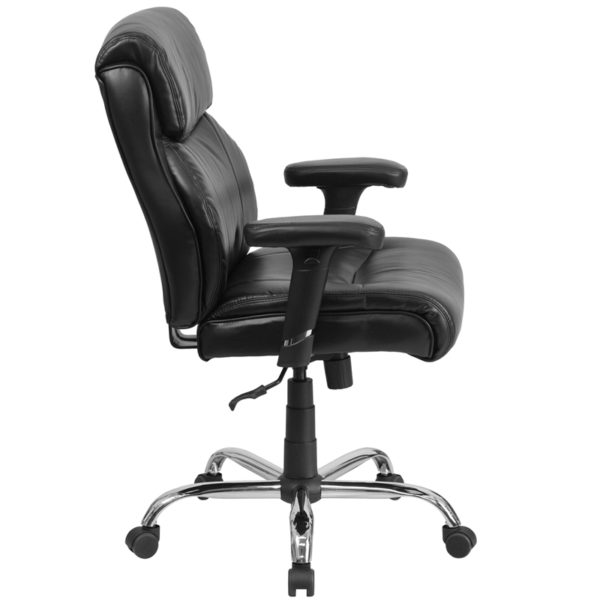 Lowest Price HERCULES Series Big & Tall 400 lb. Rated Black Leather Ergonomic Task Office Chair with Clean Line Stitching and Arms