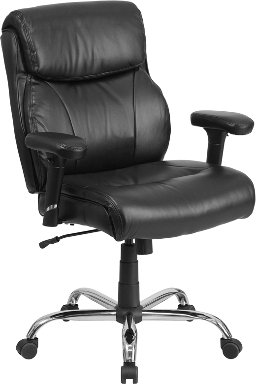 Wholesale HERCULES Series Big & Tall 400 lb. Rated Black Leather Ergonomic Task Office Chair with Clean Line Stitching and Arms