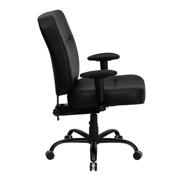 Lowest Price HERCULES Series Big & Tall 400 lb. Rated Black Leather Executive Ergonomic Office Chair with Adjustable Arms