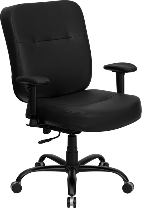 Wholesale HERCULES Series Big & Tall 400 lb. Rated Black Leather Executive Ergonomic Office Chair with Adjustable Arms