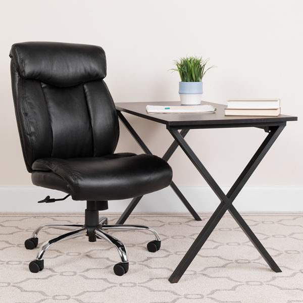 Lowest Price HERCULES Series Big & Tall 400 lb. Rated Black Leather Executive Ergonomic Office Chair with Full Headrest