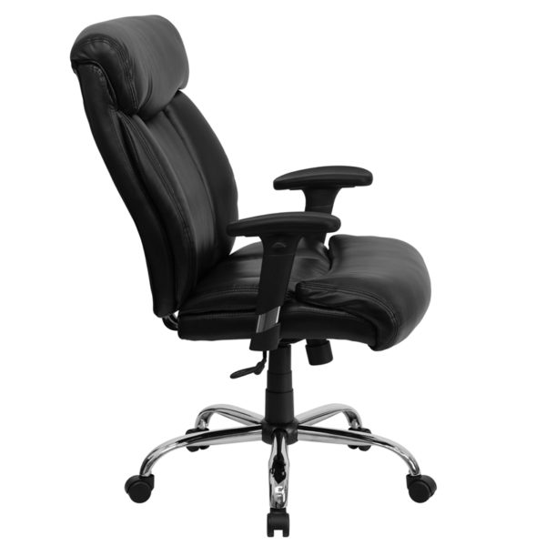 Lowest Price HERCULES Series Big & Tall 400 lb. Rated Black Leather Executive Ergonomic Office Chair with Full Headrest & Arms