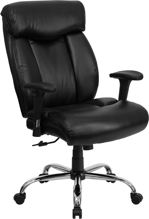 Wholesale HERCULES Series Big & Tall 400 lb. Rated Black Leather Executive Ergonomic Office Chair with Full Headrest & Arms