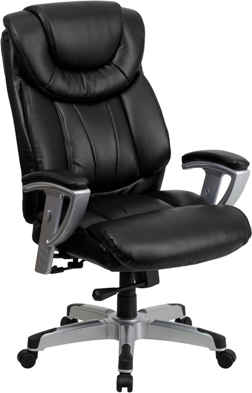 Wholesale HERCULES Series Big & Tall 400 lb. Rated Black Leather Executive Ergonomic Office Chair with Silver Adjustable Arms