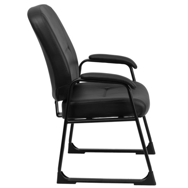 Lowest Price HERCULES Series Big & Tall 400 lb. Rated Black Leather Executive Side Chair with Sled Base