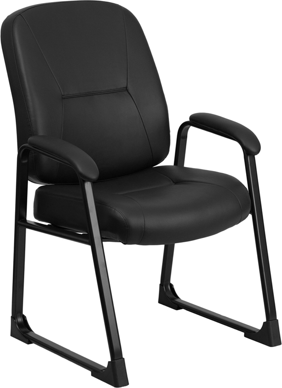 Wholesale HERCULES Series Big & Tall 400 lb. Rated Black Leather Executive Side Chair with Sled Base